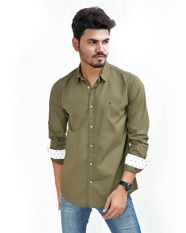 Cut Price 100% Cotton Casual Shirt Olive Green