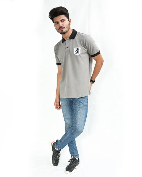 Cut Price T-Shirt For Men Rk Embroidered Batch Sand Grey