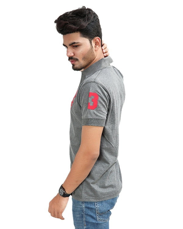 Cut Price T-Shirt For Men Rk Embroidered Batch Grey