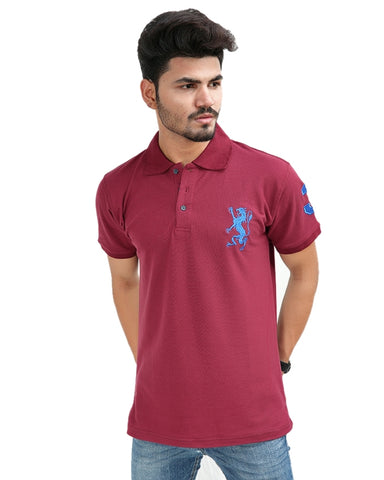 Cut Price T-Shirt For Men Rk Embroidered Dragon Maroon