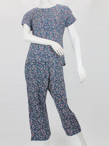 Girls 2 Pcs Night Suit for Women Printed Floral Navy Blue