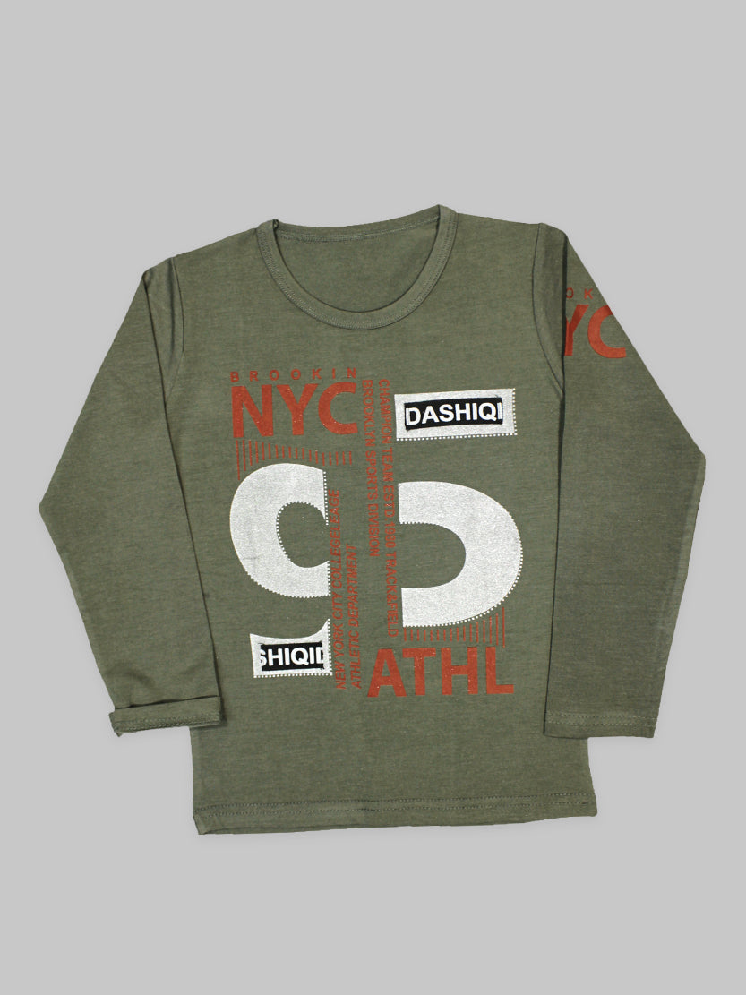 ATT Boys T-Shirt 3Yrs - 10Yrs Printed NYC Salte Green