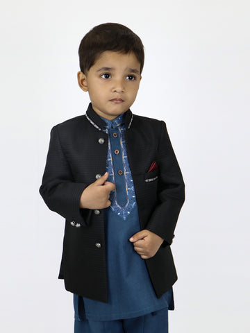 BS 1 Yr to 15 Yr Boys Prince Coat Pattern Black