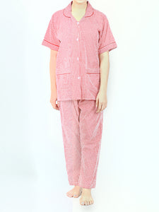 Girls 2 Pcs 100% Cotton Night Suit for Women Printed Red Checks