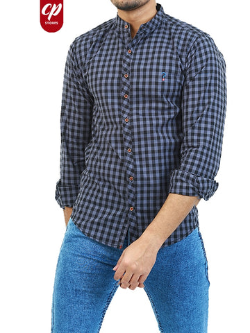 Casual Shirt for Men Summer Blackish Blue Checks