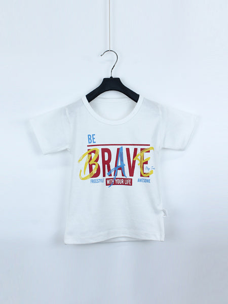 AK1 Boys T-Shirt 1 Yrs - 10 Yrs Brave White