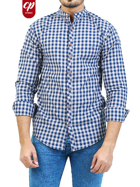Casual Shirt for Men Summer Persian Blue Checks