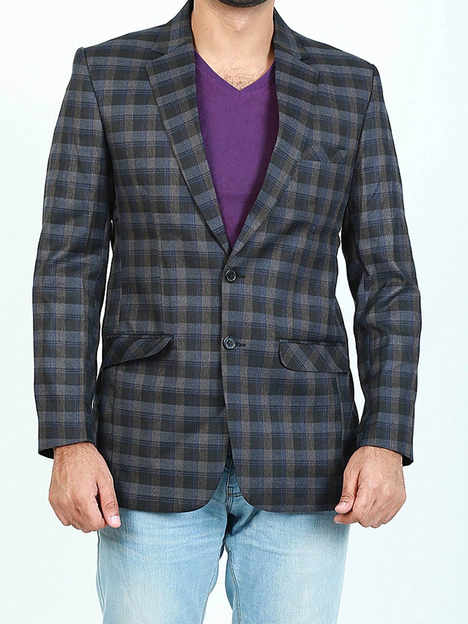 Men Casual Coat Blazer 303 Checks Blue Green Dusk