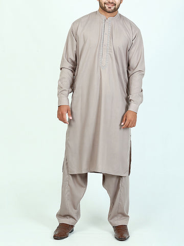 752 Shalwar Kameez Suit Stitched Sherwani Collar Embroidery Tan Grey