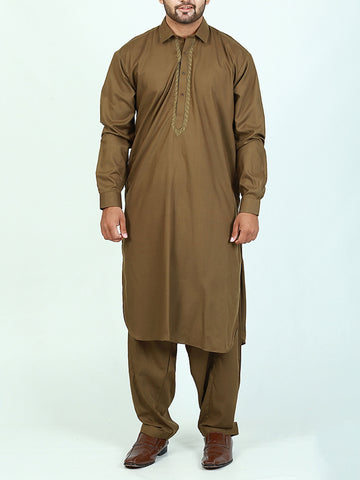 752 Shalwar Kameez Suit Stitched for Men Shirt Collar Embroidery Olive Brown