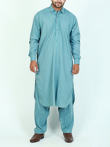752 Shalwar Kameez Suit Stitched for Men Shirt Collar Embroidery Sea Green