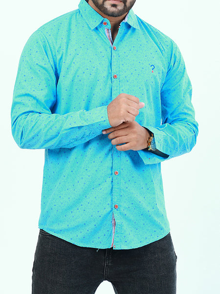 Casual Shirt for Men Printed Ferozi Blue Circle