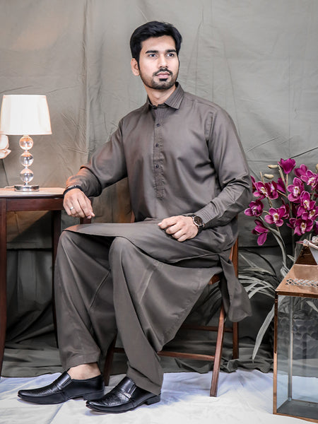 301 Essential Shalwar Kameez Stitched Suit Shirt Collar for Men Cobweb Brown