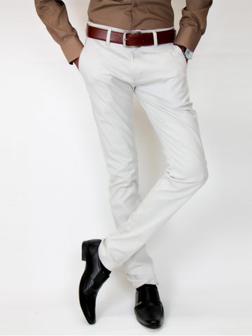 Cotton Chino Pant For Men Moon White