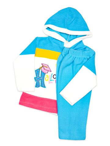 Hooded Kids Fleece Suit 1Yr to 4Yr Happy Blue