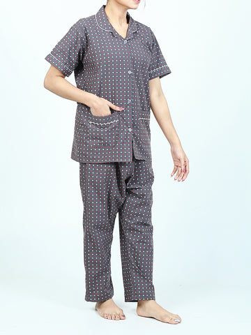 Girls 2 Pcs 100% Cotton Night Suit for Women Printed Grey