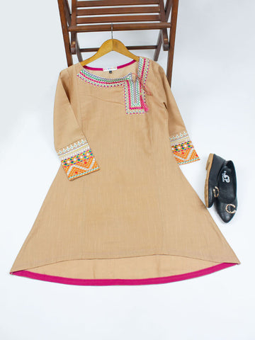 Khaddar Kurti for Women Spring Embroidery Fawn