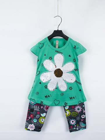AKC Baby Suit 1 Yr - 4 Yr Sequins FLOWER Green