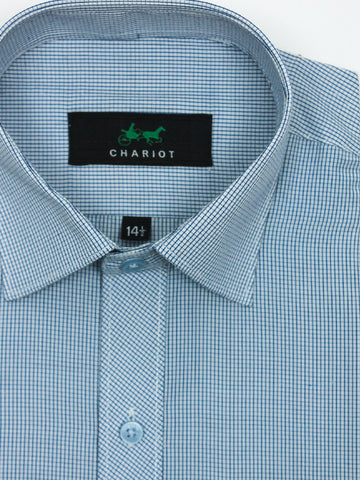 Classic Office Formal Shirt For Men Mini Squares Blue