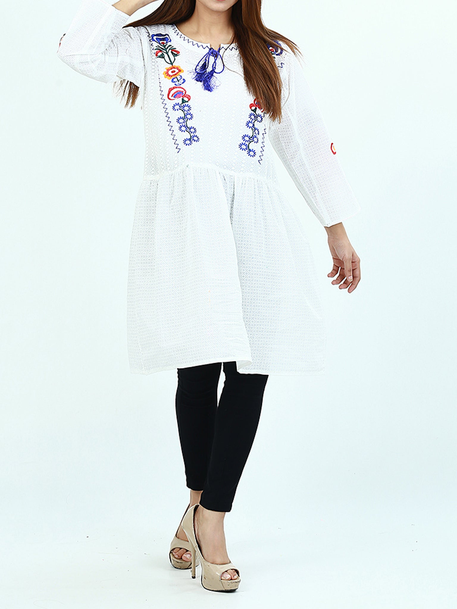 Embroidered Kurti For Women White Multi Embroidery