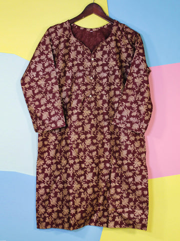 Khaddar Kurti for Women Printed F1 Maroon