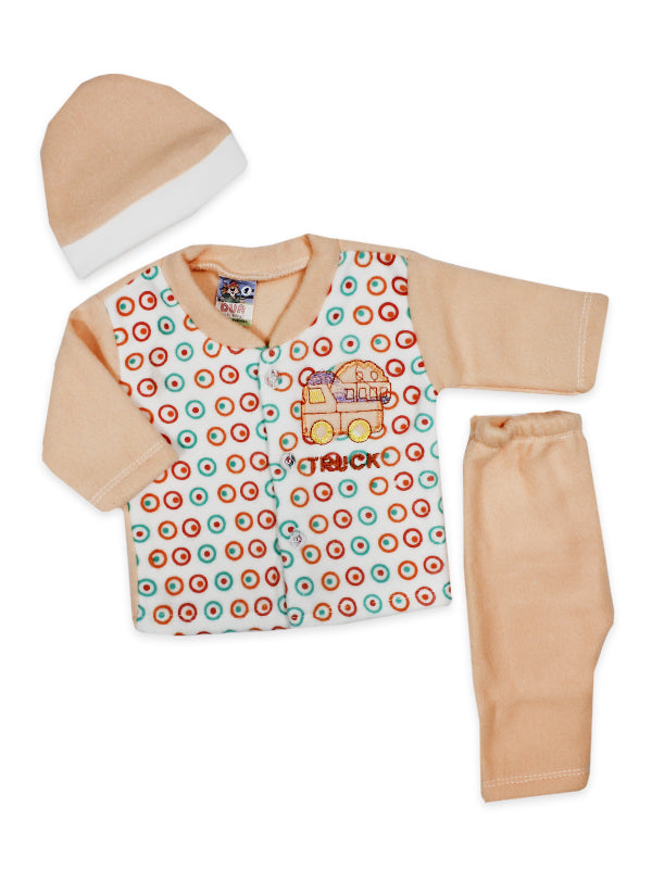 Newborn 3Pcs Fleece Suit Truck Peach