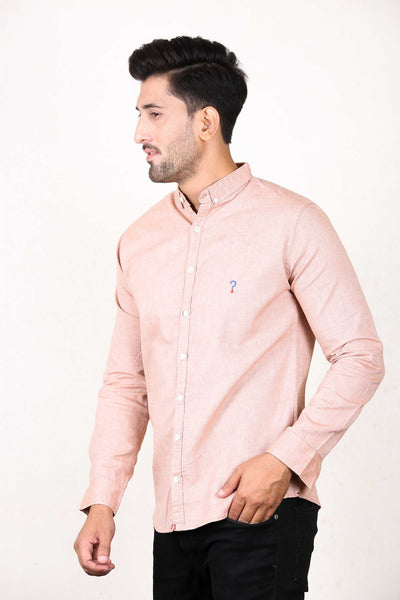 Chambray Casual Shirt For Men Coral Brown