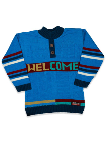 Kids Sweater 5Yr - 9Yr Welcome button Blue