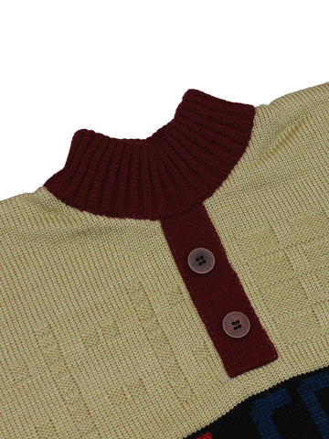Kids Sweater 5Yr - 9Yr Welcome button Brown