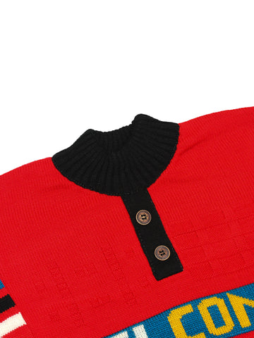 Kids Sweater 5Yr - 9Yr Welcome button Red