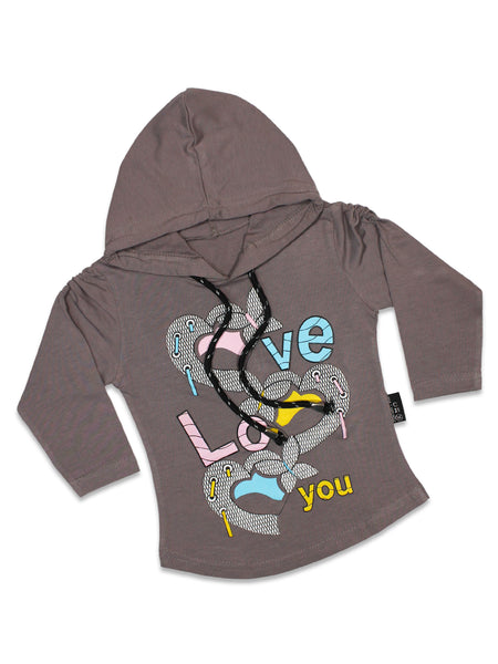 AT2 2.5Yrs - 7Yrs Hoodie T-Shirt For Girls LOVE Violet Purple