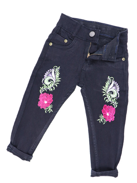 5 Yrs - 11 Yrs Power Stretch Jeans for Girls Flower