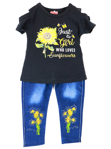 Girls Suit 1 Yr - 7 Yrs Printed Sunflower