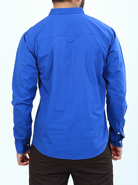 100% Cotton Double Pocket Casual Shirt for Royal Blue