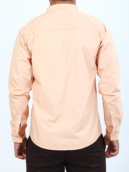 100% Cotton Double Pocket Casual Shirt for Men Peach