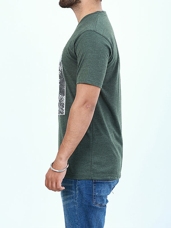 T-Shirt V-Neck for Men Printed LAC Kelly Green