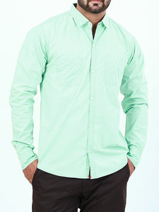 100% Cotton Double Pocket Casual Shirt for Men Spring Green