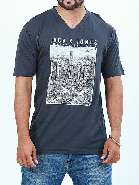 T-Shirt V-Neck for Men Printed LAC Steel Grey