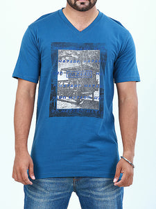 T-Shirt V-Neck for Men Printed HAZ Blue