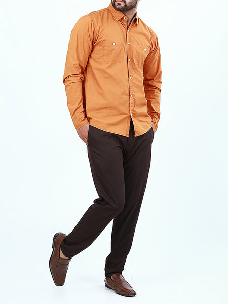 100% Cotton Double Pocket Casual Shirt for Men Rust Orange
