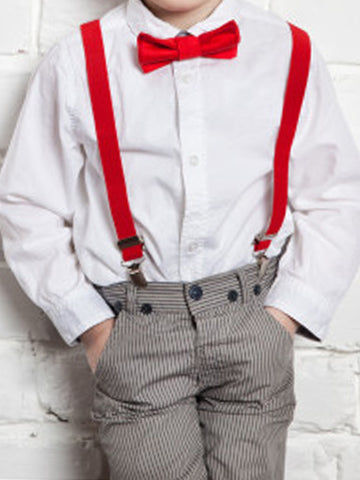 Suspenders Gallus for Kids Bright Red