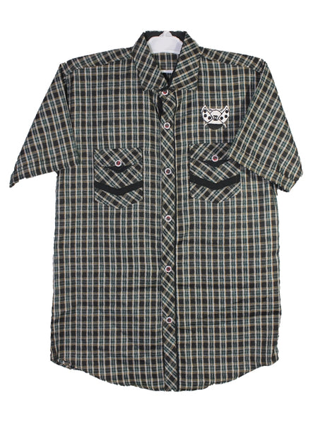 Cut Price Casual Shirt For Boys 8-16 Yrs Double Pocket Bee Green Black Check