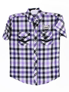 Cut Price Casual Shirt For Boys 8-16 Yrs Double Pocket Bee Pruple White Check