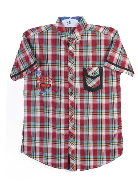 Cut Price Casual Shirt For Boys 8-16 Yrs Single Border Pocket Red Yellow Lines