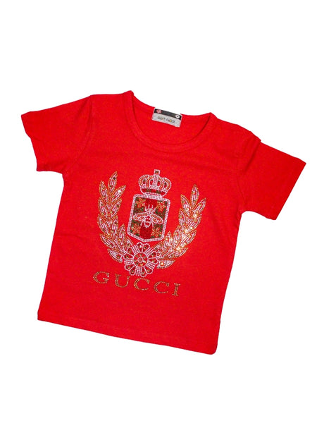 Cut Price T-Shirt For Girls  8MTH - 5YRS Glitter Red