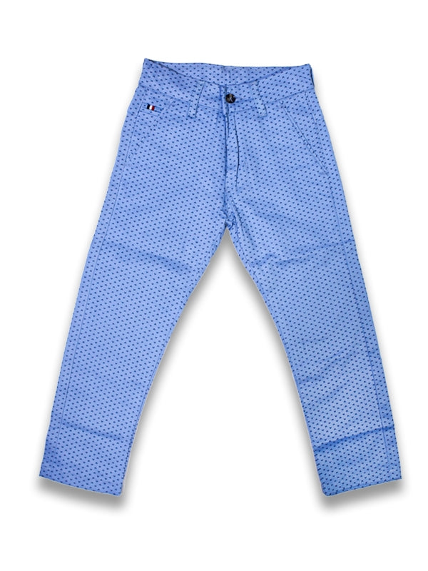 5 Yrs - 15 Yrs Printed Cotton Chino Pant For Boys Ocean Blue