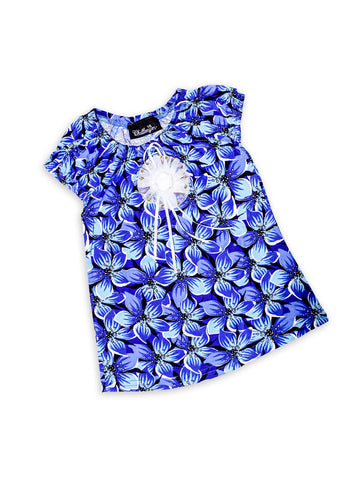 Cut Price 3 Yrs - 16 Yrs Frock For Girls Printed Blue Black Flowers