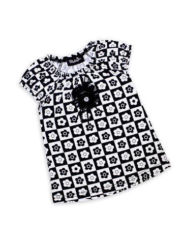 Cut Price 3 Yrs - 16 Yrs Frock For Girls Printed White Black Chess Flowers