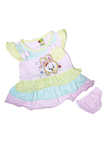 Cut Price Girls Frock Two Pcs Suit Baby Pink Star Bunny