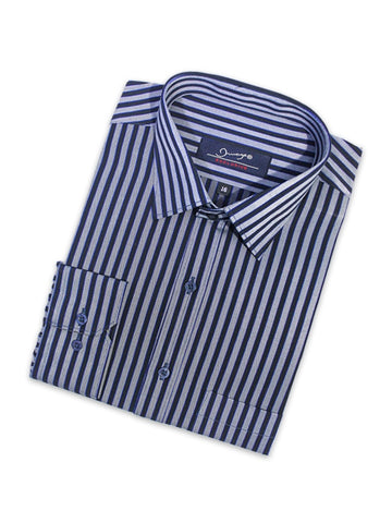 Cut Price Formal Dress Shirt For Men Black Grey Stripes